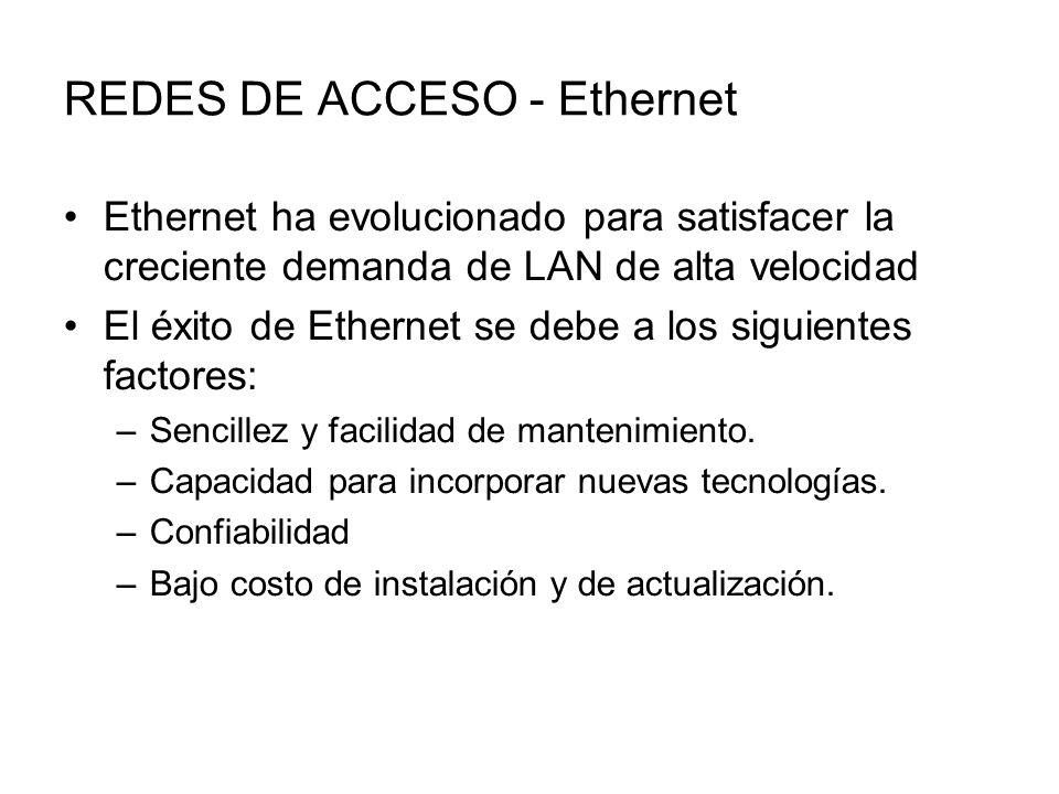 REDES DE ACCESO - Ethernet Ethernet ha evolucionado para satisfacer la creciente demanda de LAN de alta velocidad El éxito de Ethernet se debe a los siguientes factores: –Sencillez y facilidad de mantenimiento.