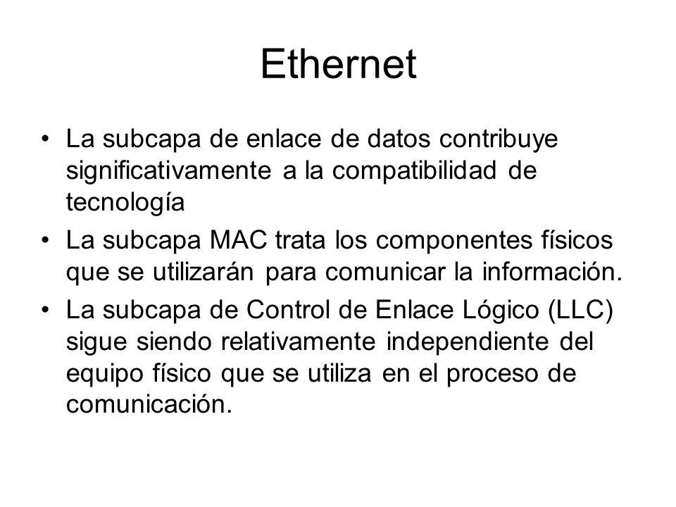 Ethernet La subcapa de enlace de datos contribuye significativamente a la compatibilidad de tecnología La subcapa MAC trata los componentes físicos que se utilizarán para comunicar la información.