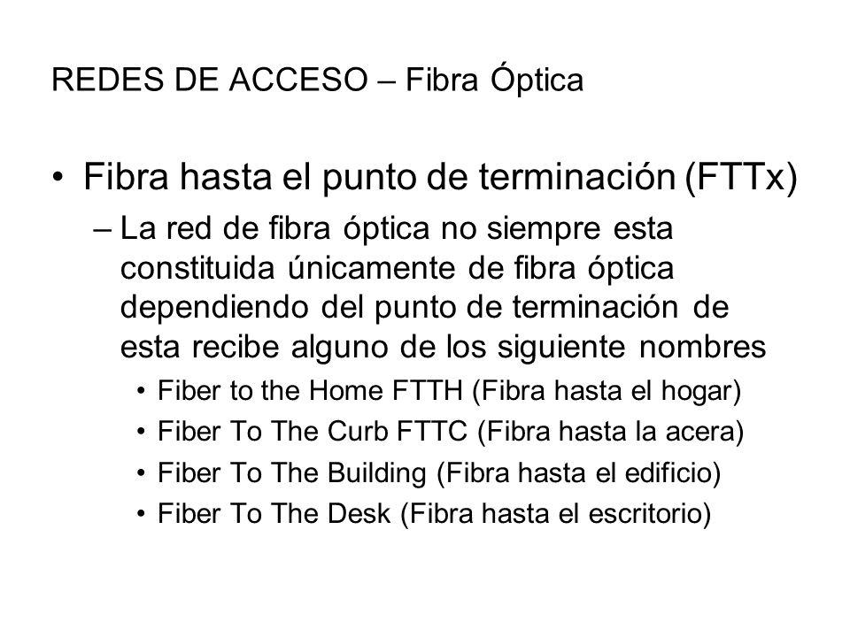 REDES DE ACCESO – Fibra Óptica Fibra hasta el punto de terminación (FTTx) –La red de fibra óptica no siempre esta constituida únicamente de fibra óptica dependiendo del punto de terminación de esta recibe alguno de los siguiente nombres Fiber to the Home FTTH (Fibra hasta el hogar) Fiber To The Curb FTTC (Fibra hasta la acera) Fiber To The Building (Fibra hasta el edificio) Fiber To The Desk (Fibra hasta el escritorio)