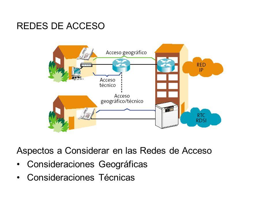 REDES DE ACCESO Aspectos a Considerar en las Redes de Acceso Consideraciones Geográficas Consideraciones Técnicas