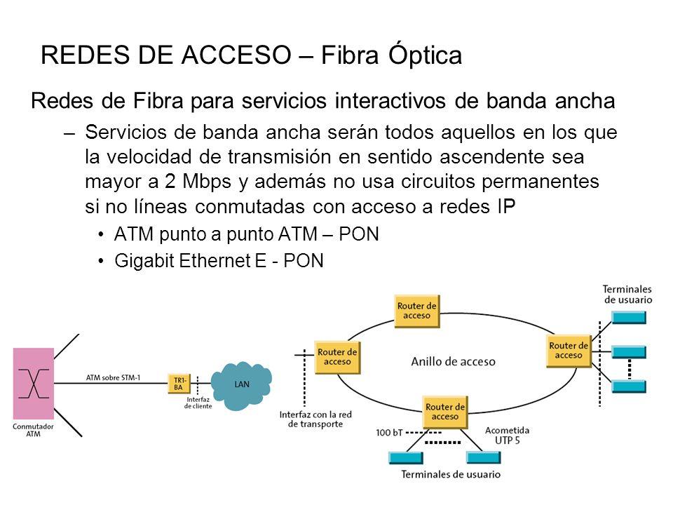 REDES DE ACCESO – Fibra Óptica Redes de Fibra para servicios interactivos de banda ancha –Servicios de banda ancha serán todos aquellos en los que la velocidad de transmisión en sentido ascendente sea mayor a 2 Mbps y además no usa circuitos permanentes si no líneas conmutadas con acceso a redes IP ATM punto a punto ATM – PON Gigabit Ethernet E - PON