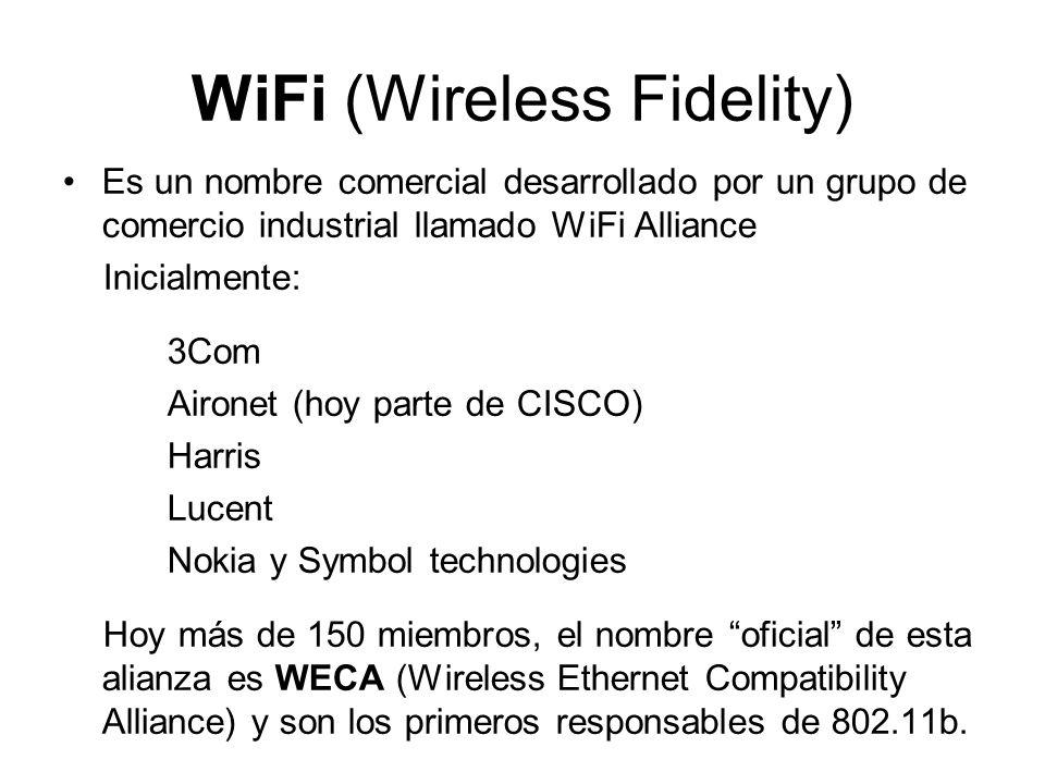 WiFi (Wireless Fidelity) Es un nombre comercial desarrollado por un grupo de comercio industrial llamado WiFi Alliance Inicialmente: 3Com Aironet (hoy parte de CISCO) Harris Lucent Nokia y Symbol technologies Hoy más de 150 miembros, el nombre oficial de esta alianza es WECA (Wireless Ethernet Compatibility Alliance) y son los primeros responsables de 802.11b.
