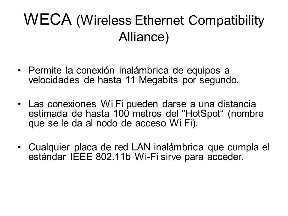 WECA (Wireless Ethernet Compatibility Alliance) Permite la conexión inalámbrica de equipos a velocidades de hasta 11 Megabits por segundo.