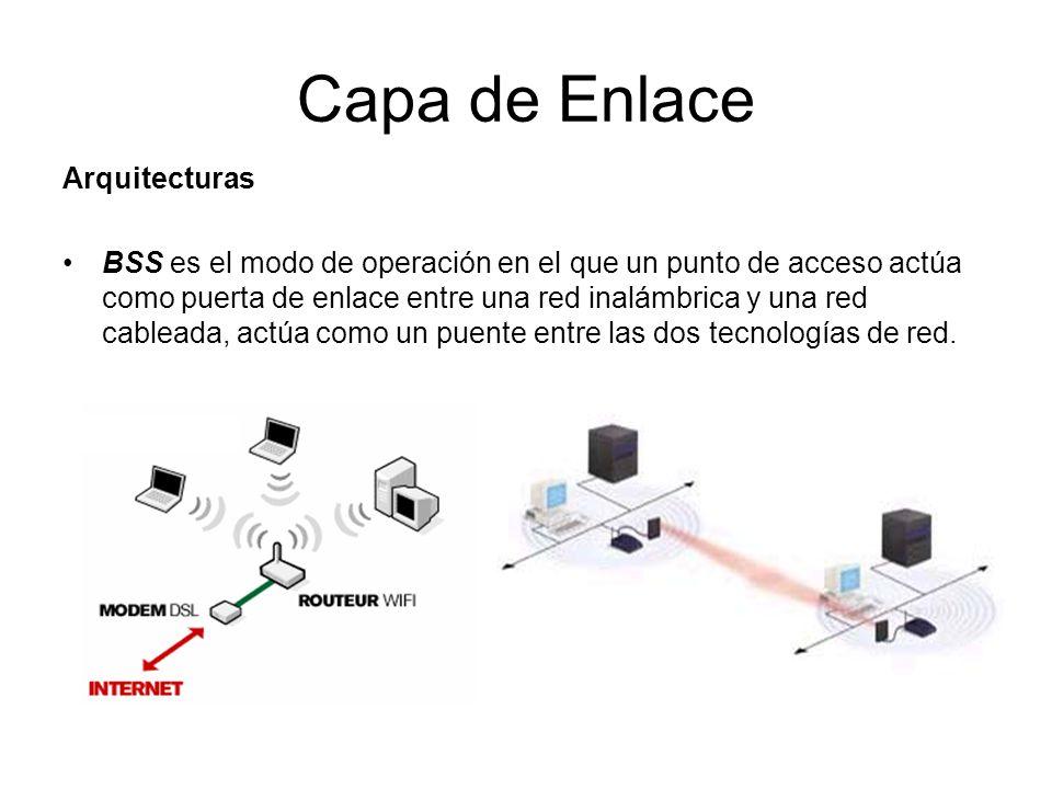 Capa de Enlace Arquitecturas BSS es el modo de operación en el que un punto de acceso actúa como puerta de enlace entre una red inalámbrica y una red cableada, actúa como un puente entre las dos tecnologías de red.