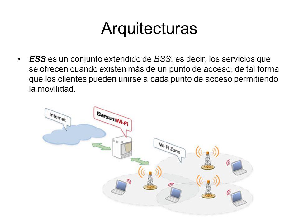 Arquitecturas ESS es un conjunto extendido de BSS, es decir, los servicios que se ofrecen cuando existen más de un punto de acceso, de tal forma que los clientes pueden unirse a cada punto de acceso permitiendo la movilidad.