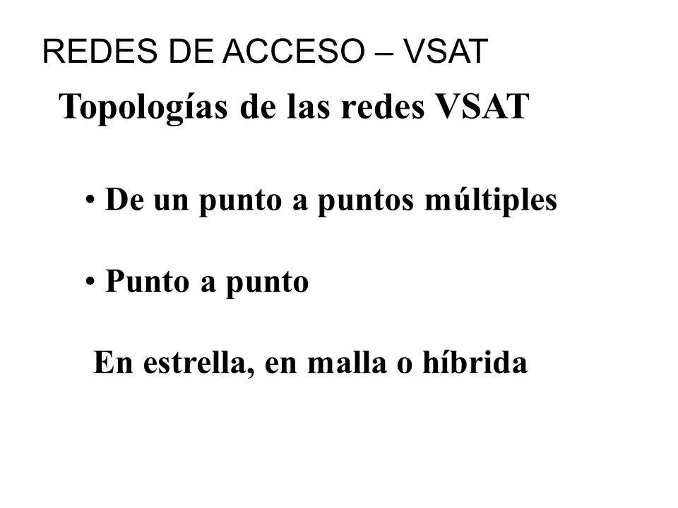 Topologías de las redes VSAT De un punto a puntos múltiples Punto a punto En estrella, en malla o híbrida REDES DE ACCESO – VSAT