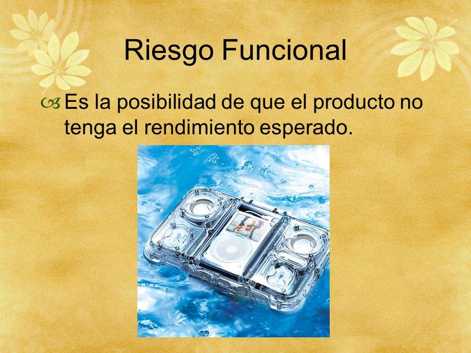 Riesgo Funcional Es la posibilidad de que el producto no tenga el rendimiento esperado.
