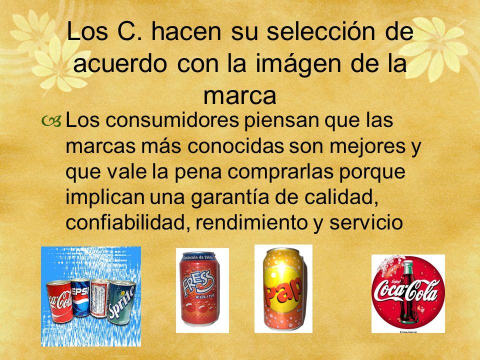 Los C. hacen su selección de acuerdo con la imágen de la marca Los consumidores piensan que las marcas más conocidas son mejores y que vale la pena co