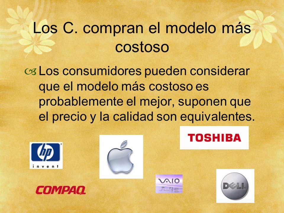 Los C. compran el modelo más costoso Los consumidores pueden considerar que el modelo más costoso es probablemente el mejor, suponen que el precio y l