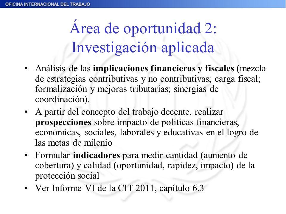 Área de oportunidad 2: Investigación aplicada Análisis de las implicaciones financieras y fiscales (mezcla de estrategias contributivas y no contributivas; carga fiscal; formalización y mejoras tributarias; sinergias de coordinación).