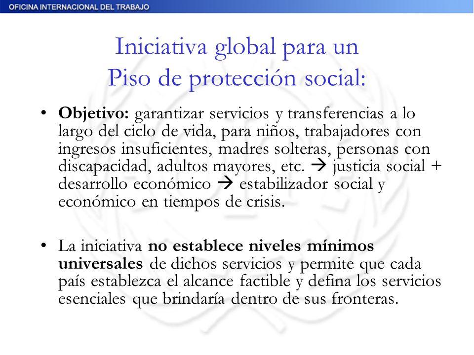 Iniciativa global para un Piso de protección social: Objetivo: garantizar servicios y transferencias a lo largo del ciclo de vida, para niños, trabajadores con ingresos insuficientes, madres solteras, personas con discapacidad, adultos mayores, etc.