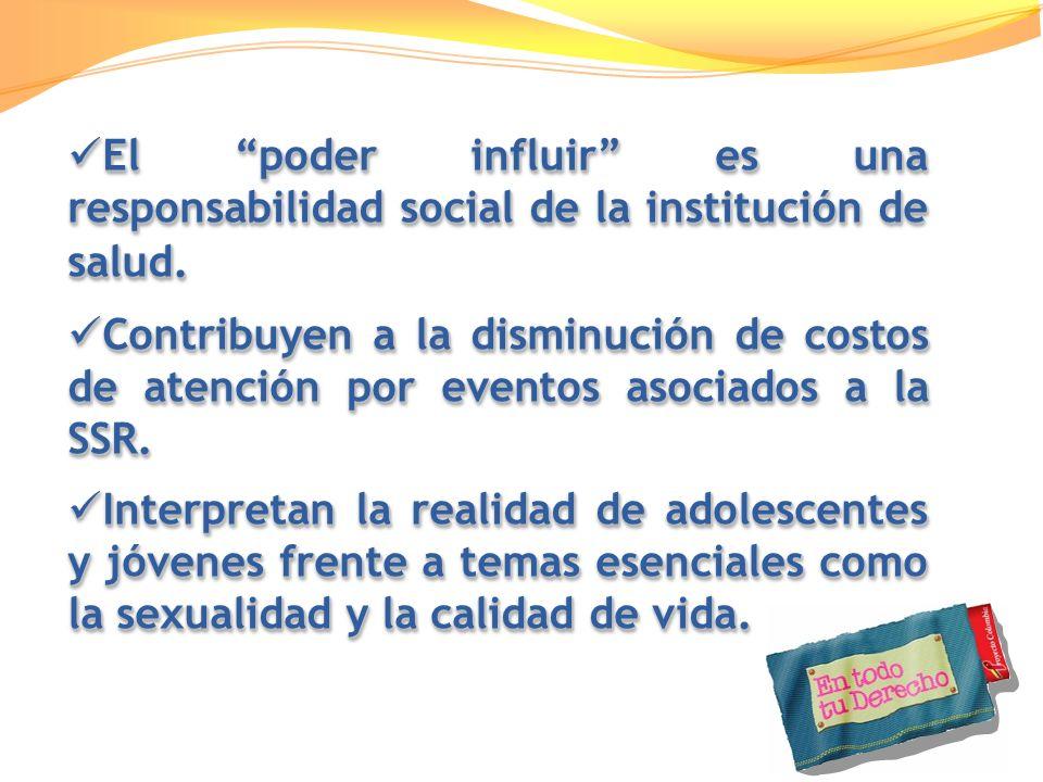 El poder influir es una responsabilidad social de la institución de salud. El poder influir es una responsabilidad social de la institución de salud.