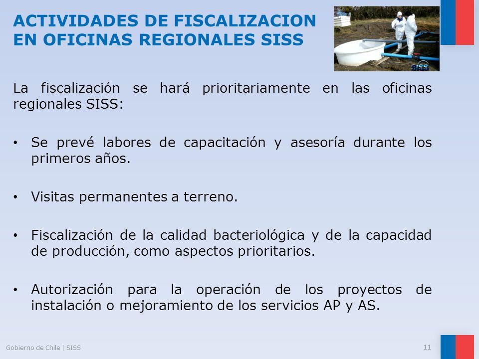 ACTIVIDADES DE FISCALIZACION EN OFICINAS REGIONALES SISS La fiscalización se hará prioritariamente en las oficinas regionales SISS: Se prevé labores d