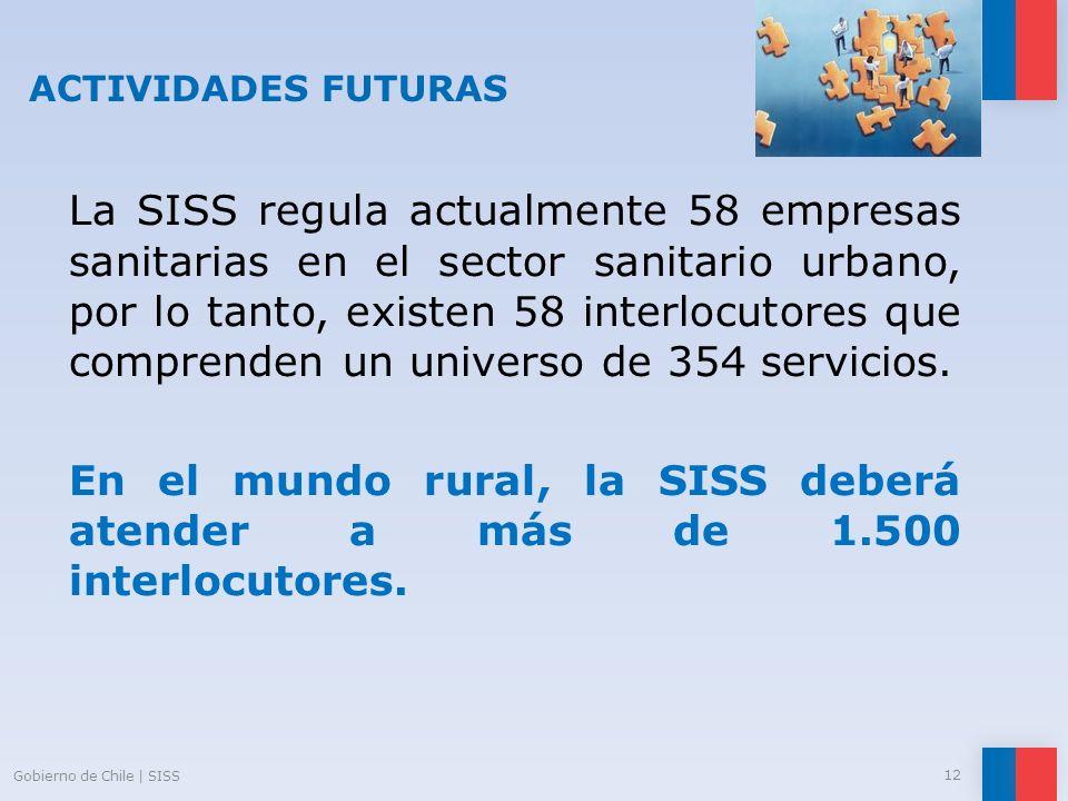 ACTIVIDADES FUTURAS La SISS regula actualmente 58 empresas sanitarias en el sector sanitario urbano, por lo tanto, existen 58 interlocutores que compr