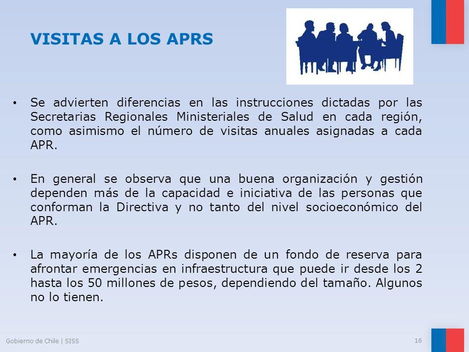 VISITAS A LOS APRS Se advierten diferencias en las instrucciones dictadas por las Secretarias Regionales Ministeriales de Salud en cada región, como a