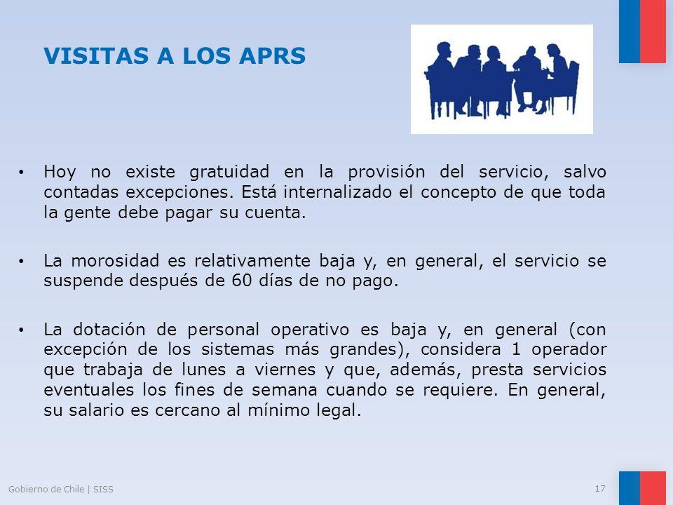 VISITAS A LOS APRS Hoy no existe gratuidad en la provisión del servicio, salvo contadas excepciones. Está internalizado el concepto de que toda la gen