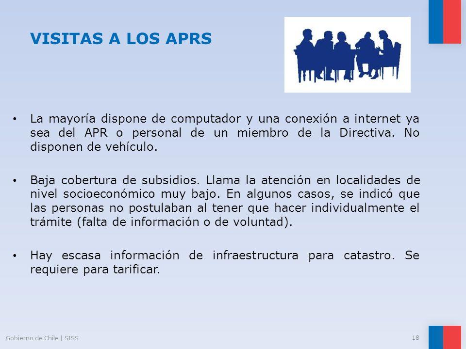VISITAS A LOS APRS La mayoría dispone de computador y una conexión a internet ya sea del APR o personal de un miembro de la Directiva. No disponen de