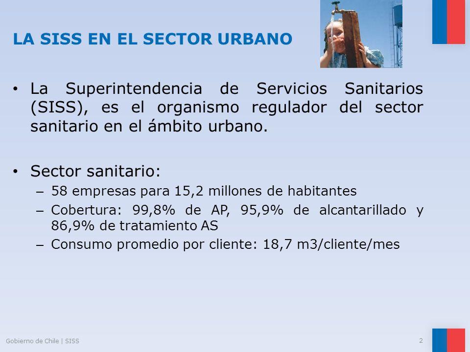 LA SISS EN EL SECTOR URBANO La Superintendencia de Servicios Sanitarios (SISS), es el organismo regulador del sector sanitario en el ámbito urbano. Se