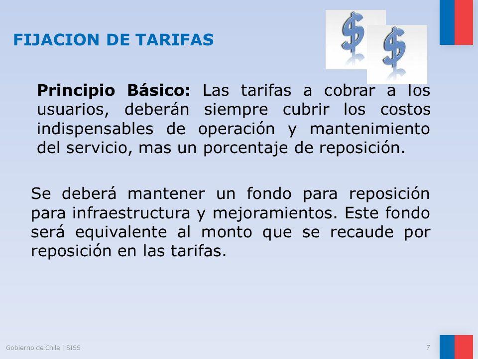 FIJACION DE TARIFAS Principio Básico: Las tarifas a cobrar a los usuarios, deberán siempre cubrir los costos indispensables de operación y mantenimien