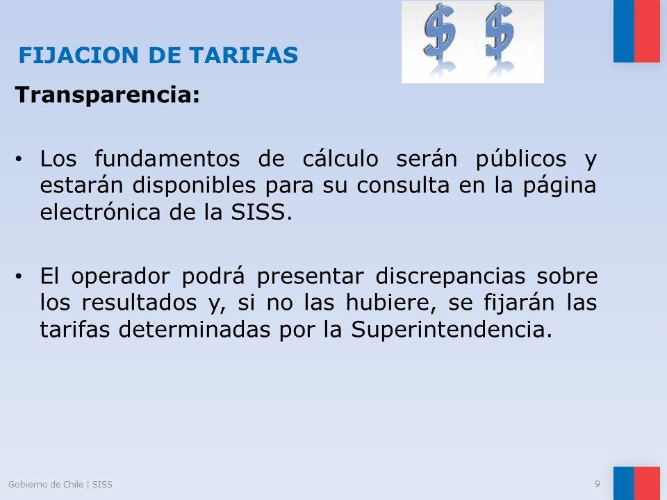 FIJACION DE TARIFAS Transparencia: Los fundamentos de cálculo serán públicos y estarán disponibles para su consulta en la página electrónica de la SIS