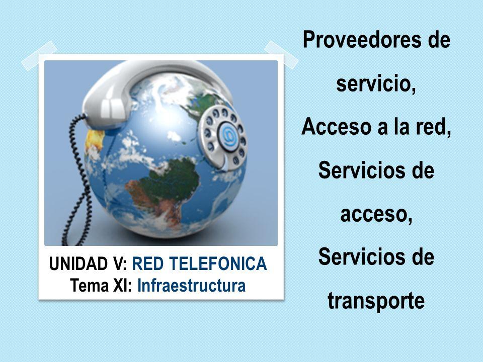 Proveedores de servicio, Acceso a la red, Servicios de acceso, Servicios de transporte UNIDAD V: RED TELEFONICA Tema XI: Infraestructura