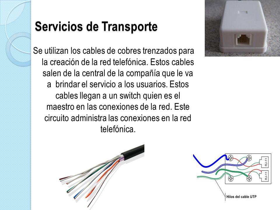 Servicios de Transporte Se utilizan los cables de cobres trenzados para la creación de la red telefónica. Estos cables salen de la central de la compa