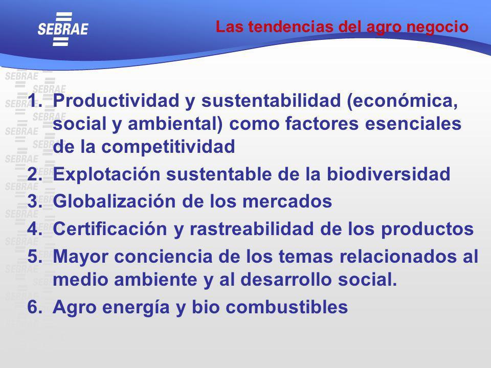 Las tendencias del agro negocio 1.Productividad y sustentabilidad (económica, social y ambiental) como factores esenciales de la competitividad 2.Expl