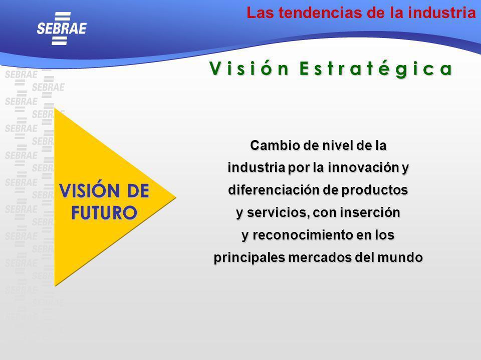 Cambio de nivel de la industria por la innovación y diferenciación de productos y servicios, con inserción y reconocimiento en los principales mercado