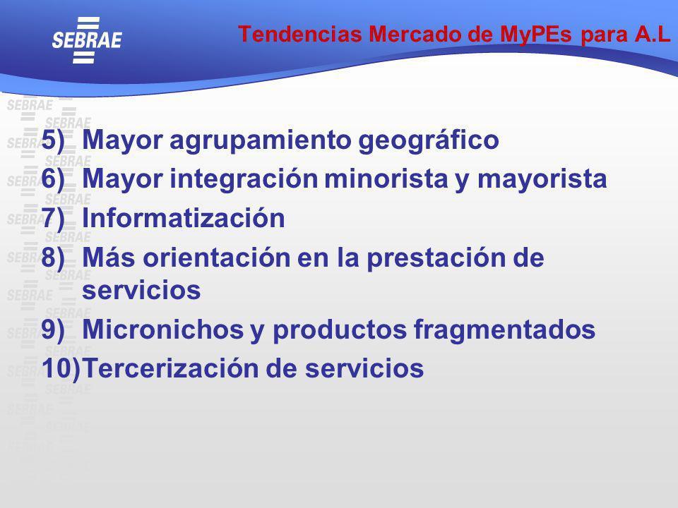 5)Mayor agrupamiento geográfico 6)Mayor integración minorista y mayorista 7)Informatización 8)Más orientación en la prestación de servicios 9)Micronic