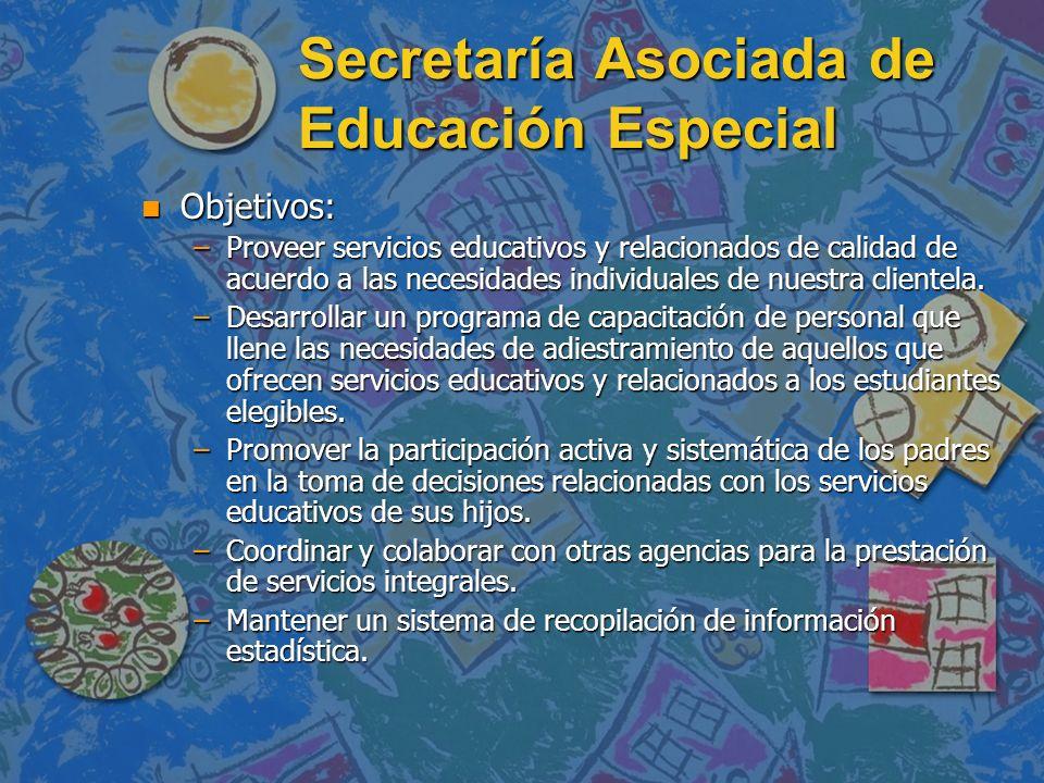 Secretaría Asociada de Educación Especial n Objetivos: –Proveer servicios educativos y relacionados de calidad de acuerdo a las necesidades individual