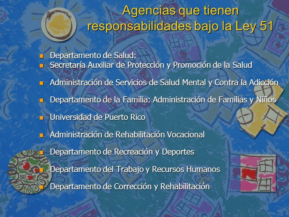 Agencias que tienen responsabilidades bajo la Ley 51 n Departamento de Salud: n Secretaría Auxiliar de Protección y Promoción de la Salud n Administra