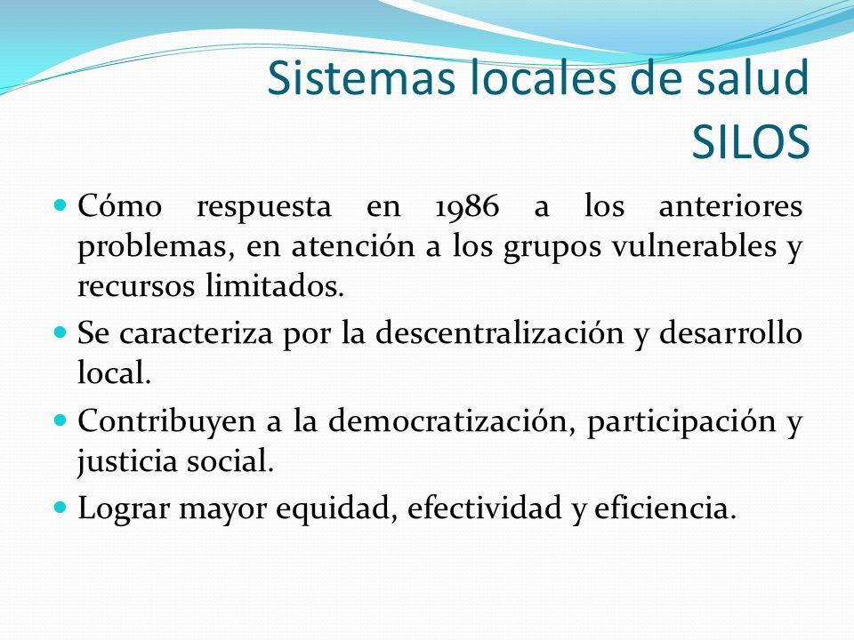 Sistemas locales de salud SILOS Cómo respuesta en 1986 a los anteriores problemas, en atención a los grupos vulnerables y recursos limitados. Se carac