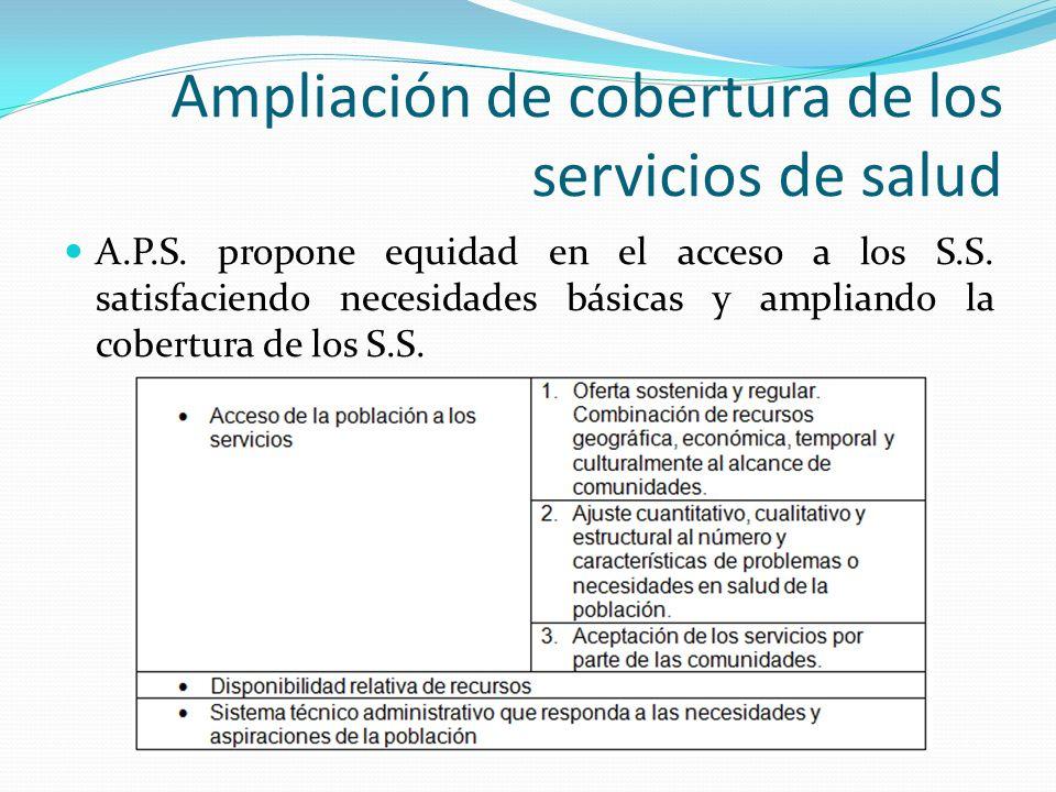 Ampliación de cobertura de los servicios de salud A.P.S. propone equidad en el acceso a los S.S. satisfaciendo necesidades básicas y ampliando la cobe