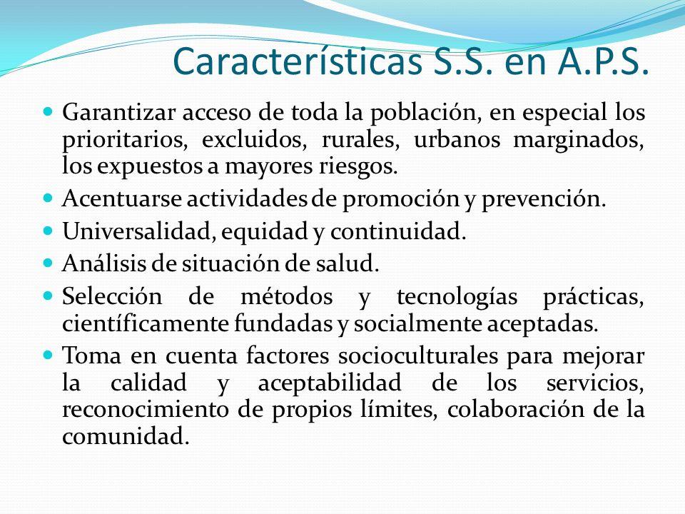 Características S.S. en A.P.S. Garantizar acceso de toda la población, en especial los prioritarios, excluidos, rurales, urbanos marginados, los expue