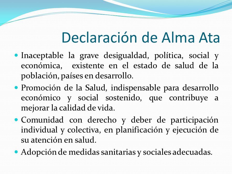 Declaración de Alma Ata Inaceptable la grave desigualdad, política, social y económica, existente en el estado de salud de la población, países en des