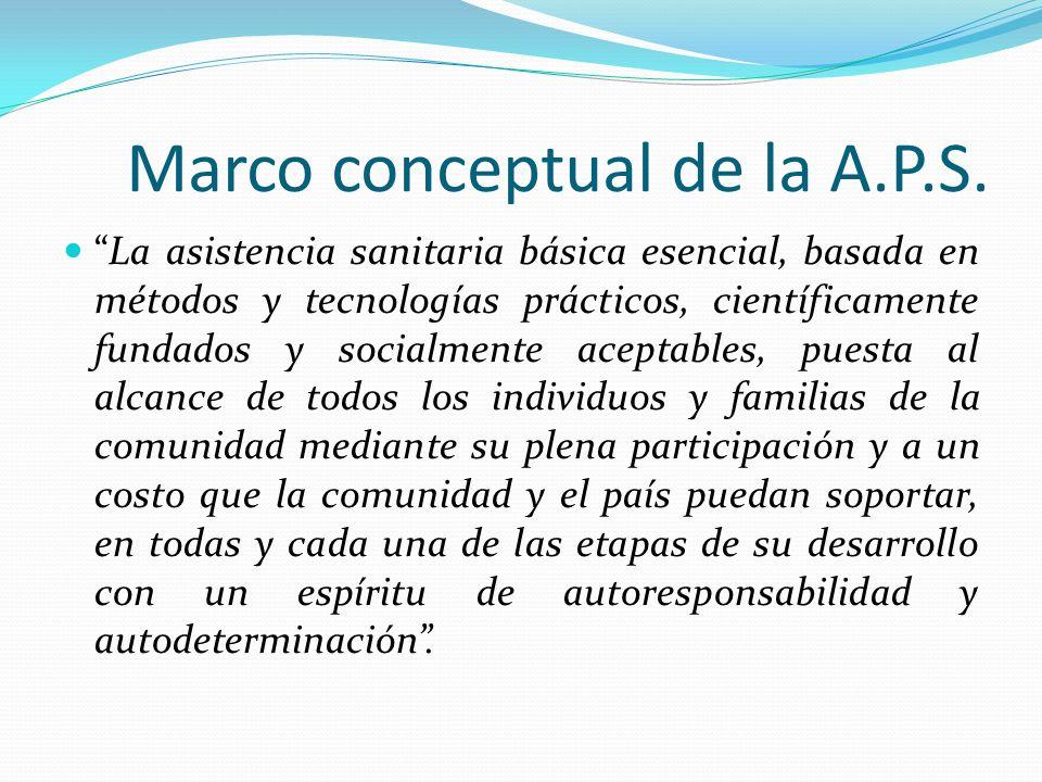 Marco conceptual de la A.P.S. La asistencia sanitaria básica esencial, basada en métodos y tecnologías prácticos, científicamente fundados y socialmen