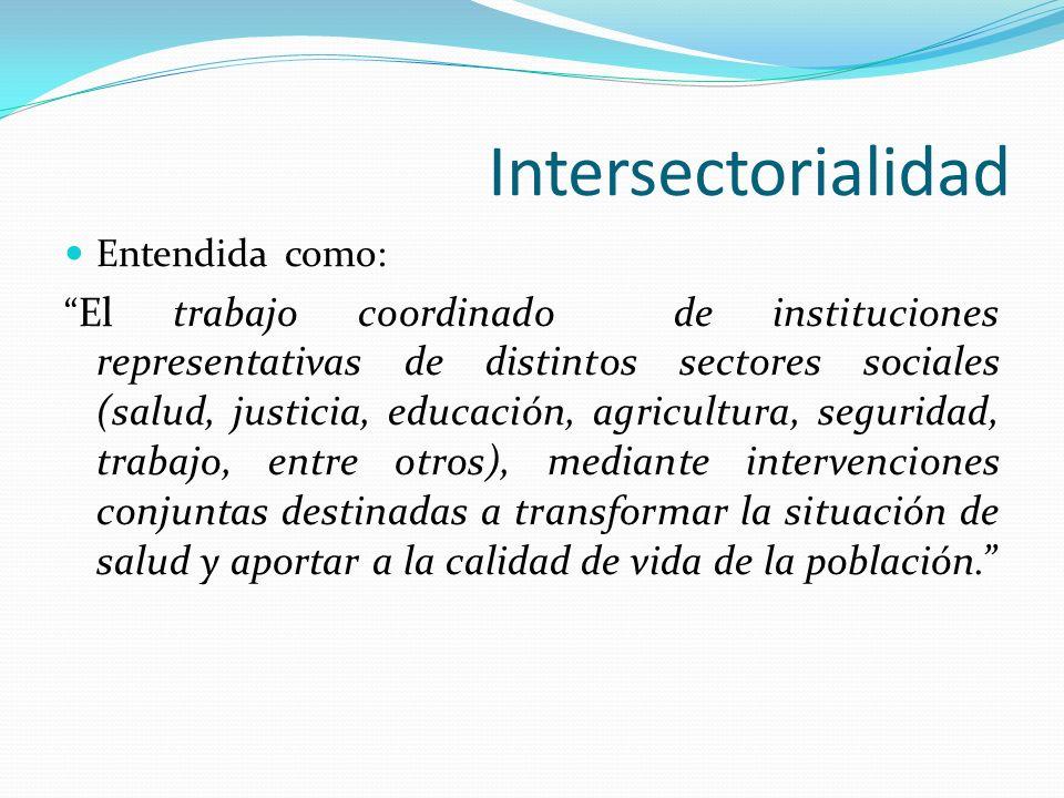 Intersectorialidad Entendida como: El trabajo coordinado de instituciones representativas de distintos sectores sociales (salud, justicia, educación,