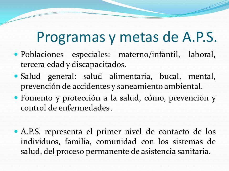 Programas y metas de A.P.S. Poblaciones especiales: materno/infantil, laboral, tercera edad y discapacitados. Salud general: salud alimentaria, bucal,