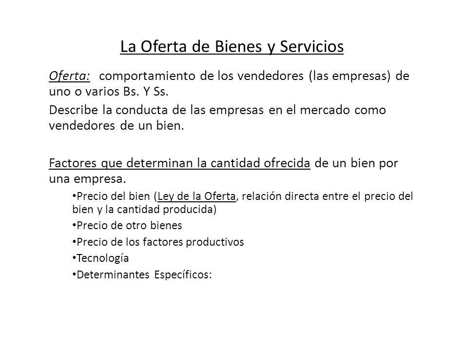 La Oferta de Bienes y Servicios Oferta: comportamiento de los vendedores (las empresas) de uno o varios Bs. Y Ss. Describe la conducta de las empresas