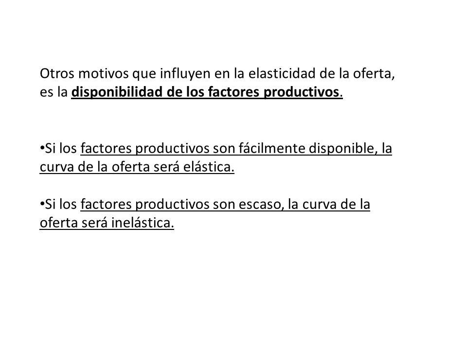 Otros motivos que influyen en la elasticidad de la oferta, es la disponibilidad de los factores productivos. Si los factores productivos son fácilment
