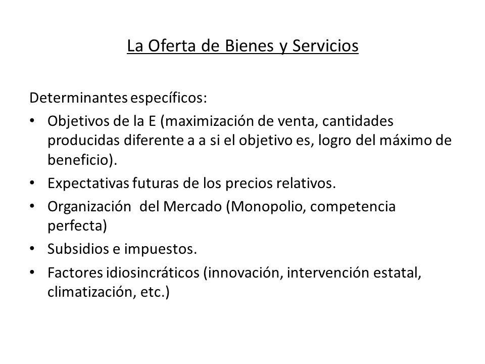 La Oferta de Bienes y Servicios Determinantes específicos: Objetivos de la E (maximización de venta, cantidades producidas diferente a a si el objetiv