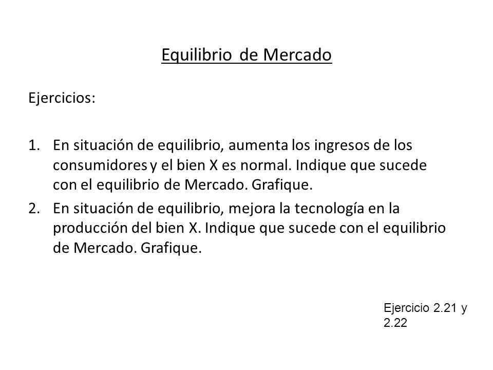 Equilibrio de Mercado Ejercicios: 1.En situación de equilibrio, aumenta los ingresos de los consumidores y el bien X es normal. Indique que sucede con
