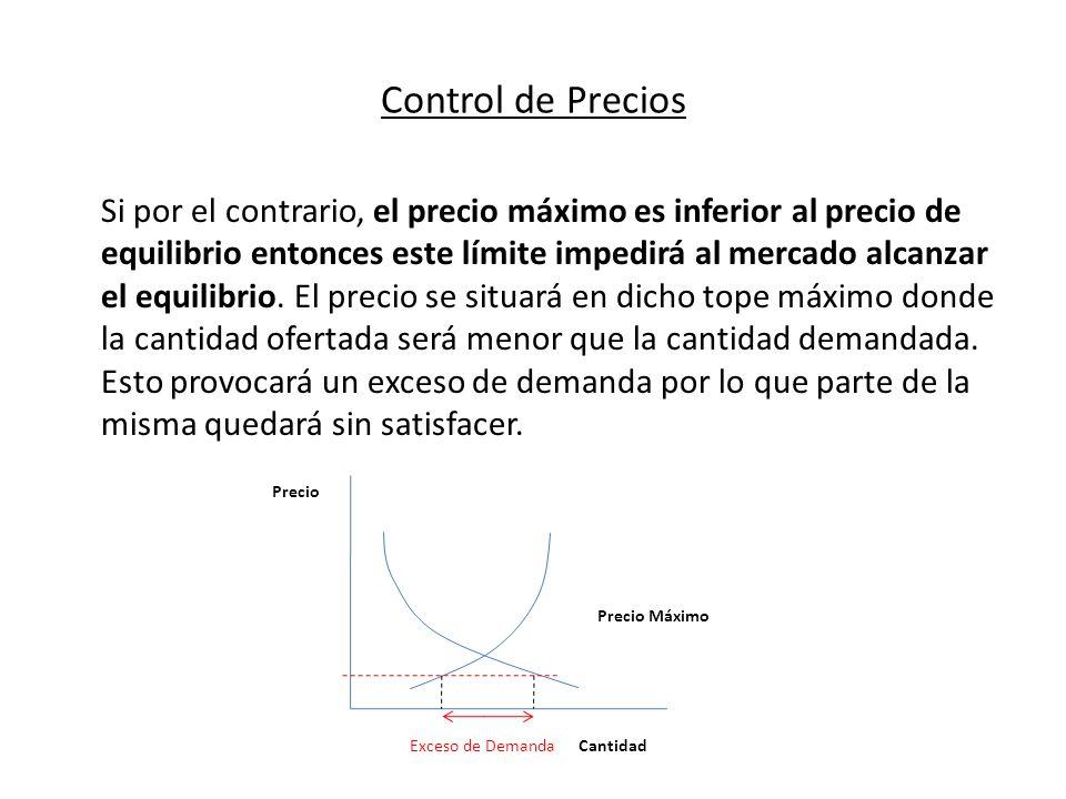 Control de Precios Si por el contrario, el precio máximo es inferior al precio de equilibrio entonces este límite impedirá al mercado alcanzar el equi