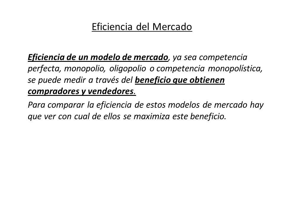 Eficiencia del Mercado Eficiencia de un modelo de mercado, ya sea competencia perfecta, monopolio, oligopolio o competencia monopolística, se puede me