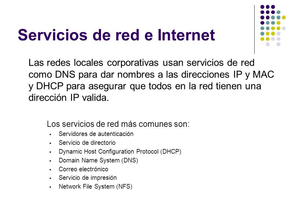 Servicios de red e Internet Existen, por tanto, muchos otros servicios y protocolos en Internet, aparte de la Web: El envío de correo electrónico (SMTP) La transmisión de archivos (FTP y P2P) Las conversaciones en línea (IRC) La mensajería instantánea y presencia La transmisión de contenido y comunicación multimedia Telefonía (VoIP) Televisión (IPTV) Los boletines electrónicos (NNTP) El acceso remoto a otros dispositivos (SSH y Telnet)