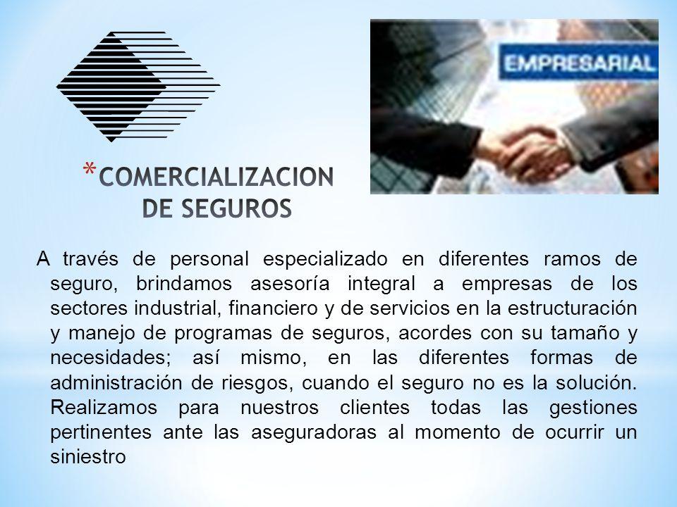 A través de personal especializado en diferentes ramos de seguro, brindamos asesoría integral a empresas de los sectores industrial, financiero y de s