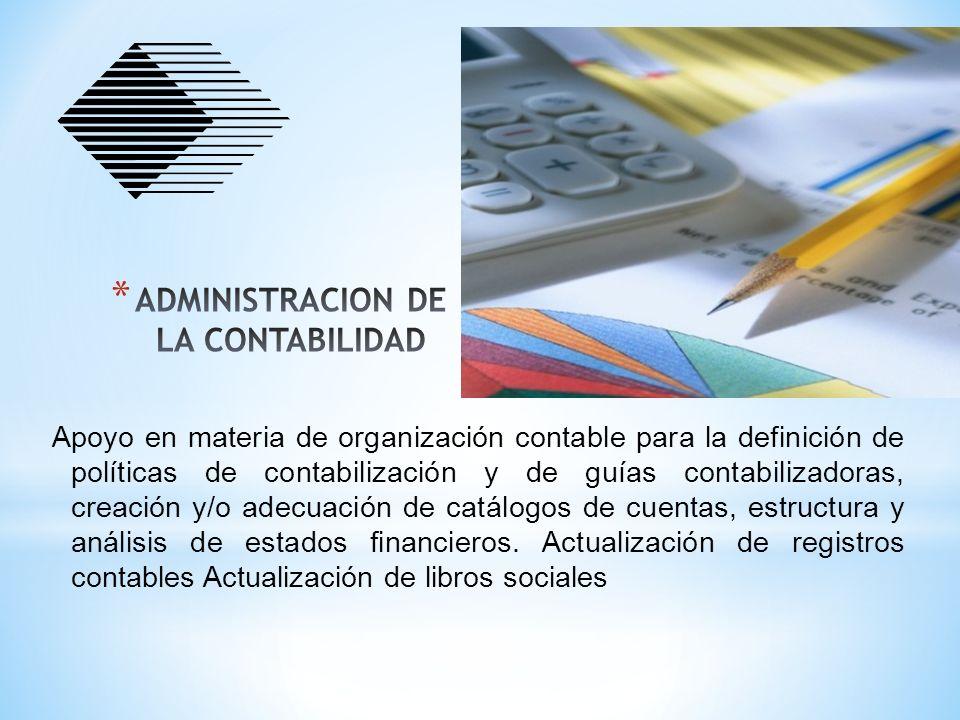Apoyo en materia de organización contable para la definición de políticas de contabilización y de guías contabilizadoras, creación y/o adecuación de c