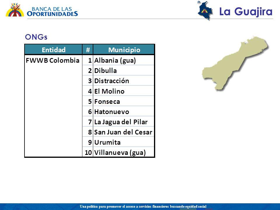 Una política para promover el acceso a servicios financieros buscando equidad social La Guajira ONGs