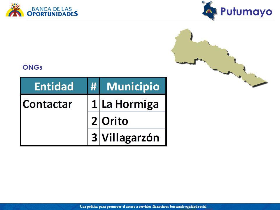 Una política para promover el acceso a servicios financieros buscando equidad social Putumayo ONGs