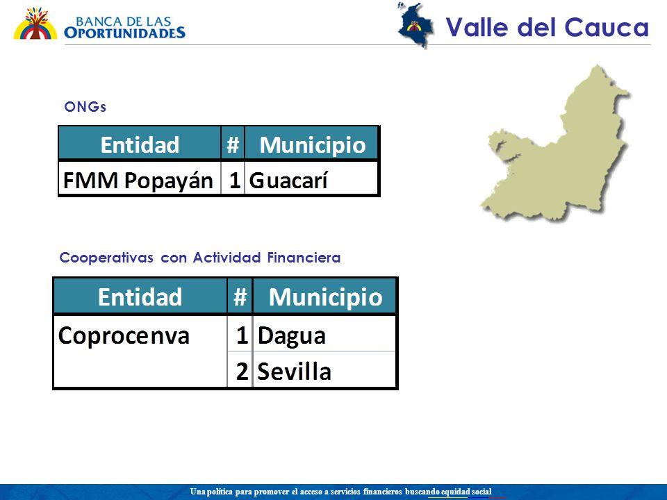 Una política para promover el acceso a servicios financieros buscando equidad social Valle del Cauca ONGs Cooperativas con Actividad Financiera